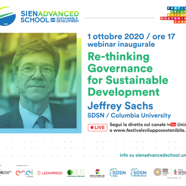 Opening Lecture of the Siena Advanced School on Sustainable Development 2020 with Professor Jeffrey Sachs, October 1st, 2020